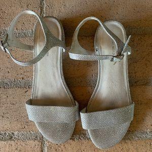 Gently worn Stuart Weizmann silver sandals